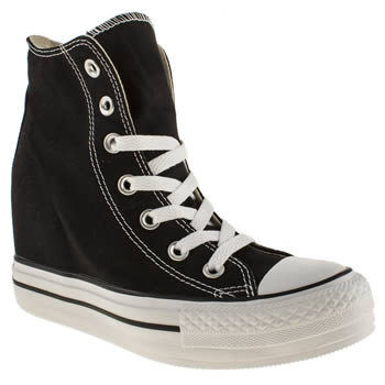 womens converse black all star platform plus hi trainers