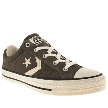 womens converse dark grey star player ox suede ii trainers
