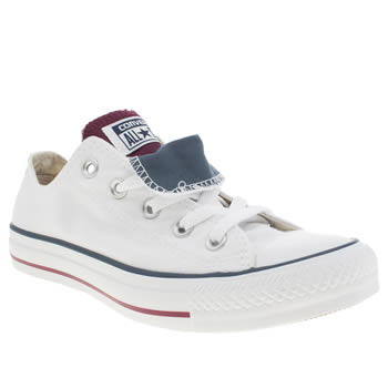 Converse White & Burgundy All Star Double Tongue Oxford Trainers