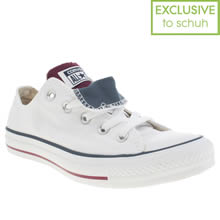 White & Burgundy Converse All Star Double Tongue Oxford