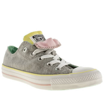 womens converse grey all star double tongue ox iv trainers
