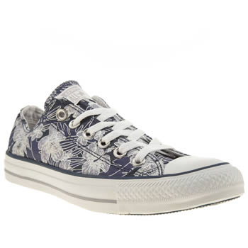 Womens Converse Navy & Silver All Star Tropical Flower Trainers