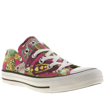 Womens Converse Pink All Star Ox Feather Skull Trainers
