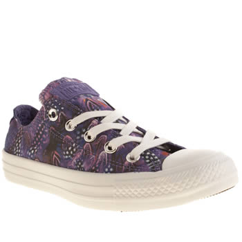 Womens Converse Purple All Star Oxford Photo Feathers Trainers