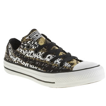 Converse Black & Gold All Star Oxford Animal Print Trainers