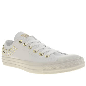 womens converse white & gold all star canvas studs oxford trainers