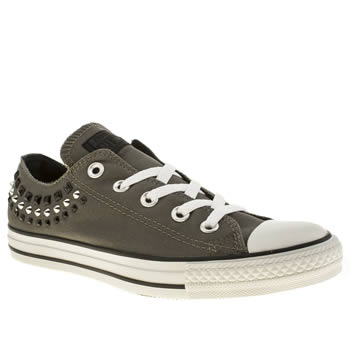Womens Converse Dark Grey All Star Canvas Studs Oxford Trainers