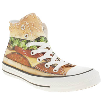 Converse Beige & Red All Star Hi Burger Trainers