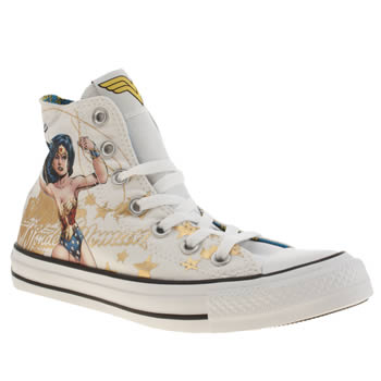 Converse White & Gold All Star Hi Wonderwoman Trainers