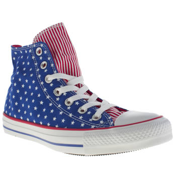 Womens Converse Blue All Star Hi Stars N Bars Trainers