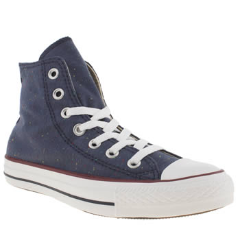 Converse Navy & White All Star Hi Vi Speckled Jersey Trainers