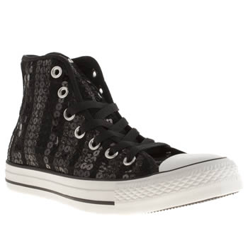 Converse Black & White Hi Vi Sequins Trainers