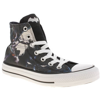 Converse Black & White All Star Hi Batman Trainers