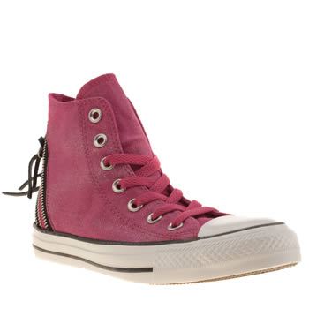 Womens Converse Pink Sparkle Wash Tri Zip Hi Trainers