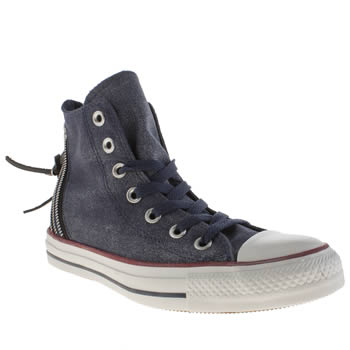 Womens Converse Navy & White Sparkle Wash Tri Zip Hi Trainers