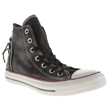 Converse Black & White Sparkle Wash Triple Zip Hi Trainers