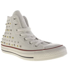 White & Silver Converse All Star Canvas Studs Hi
