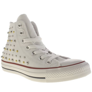 Converse White & Silver All Star Canvas Studs Hi Trainers