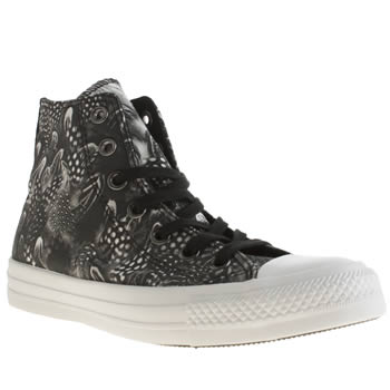 Converse Black & White All Star Hi Photo Feathers Trainers