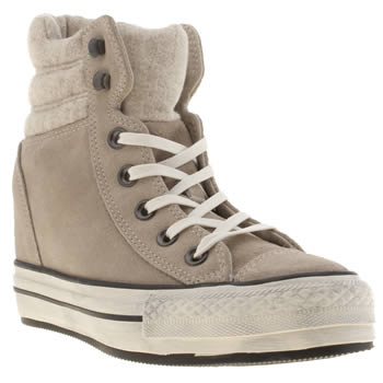 womens converse grey platform plus collar hi trainers