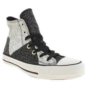Converse White & Black All Star Animal Reflective Hi Trainers