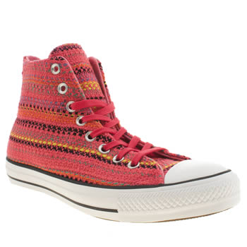 Womens Converse Pink All Star Winter Material Hi Trainers