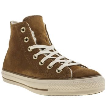 Converse Tan Suede & Shearling Hi Trainers