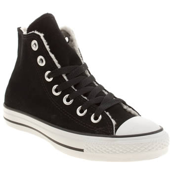 Converse Black & White Suede & Shearling Hi Trainers