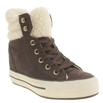 Womens Converse Brown Platform Plus Shearling Hi Trainers