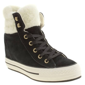 Converse Black & White Platform Plus Shearling Hi Trainers