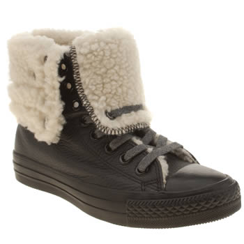 Converse Black & White All Star Shearling Hi Trainers