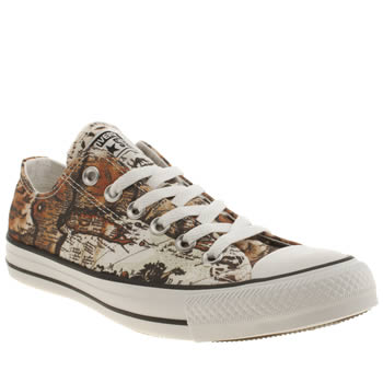 Womens Converse Brown & Orange All Star Map Print Oxford Trainers