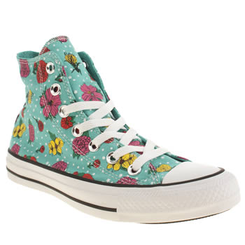 Womens Converse Turquoise Floral Polka Dot Hi Trainers