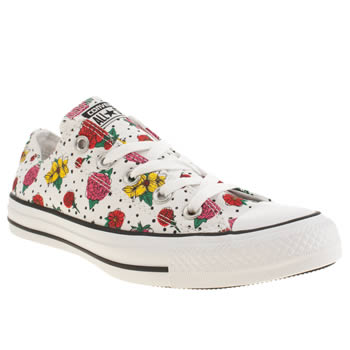Converse White & Pink Floral Polka Dot Oxford Trainers