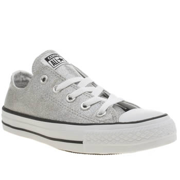 Womens Converse Silver All Star Glitter Ox Trainers