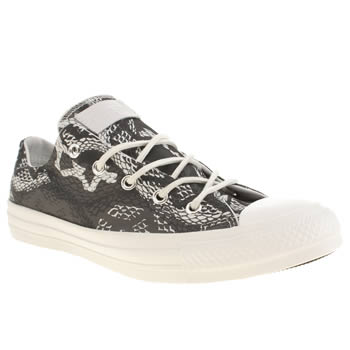 Womens Converse Grey & Black All Star Reptile Print Oxford Trainers