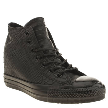 Converse Black Lux Embossed Reptile Hi Trainers