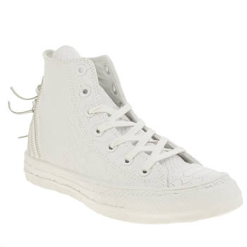 Converse White Tri Zip Embellished Reptile Hi Trainers