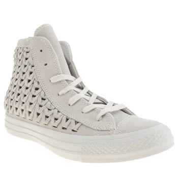 Converse Light Grey All Star Elevated Woven Hi Trainers