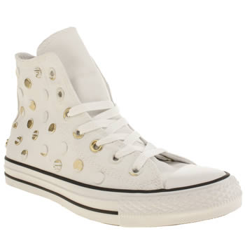 Converse White & Gold All Star Painted Hardware Hi Trainers