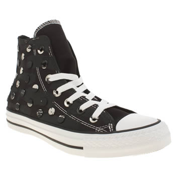 Converse Black & Silver All Star Painted Hardware Hi Trainers