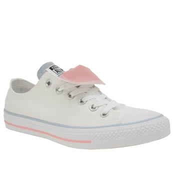 Converse White & Pl Blue All Star Double Tongue Ox Trainers
