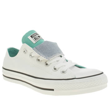 Converse White & Green All Star Double Tongue Oxford Trainers