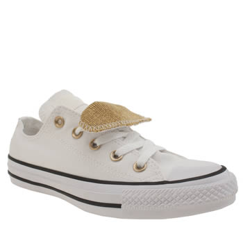 Converse White & Gold Double Tongue Knit Oxford Trainers