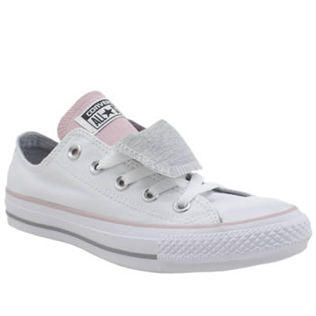 Converse White & Pink All Star Double Tongue Oxford Trainers