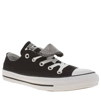 Converse Black & Silver Double Tongue Knit Oxford Trainers