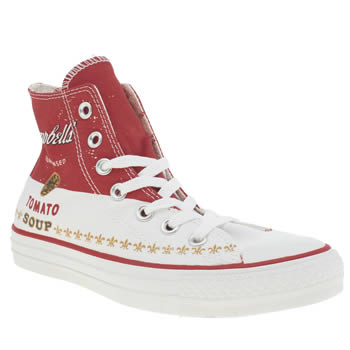 Converse White & Red All Star Warhol Print Hi Trainers
