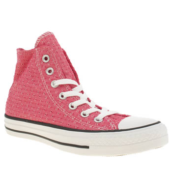 Womens Converse Pink All Star Summer Material Hi Trainers
