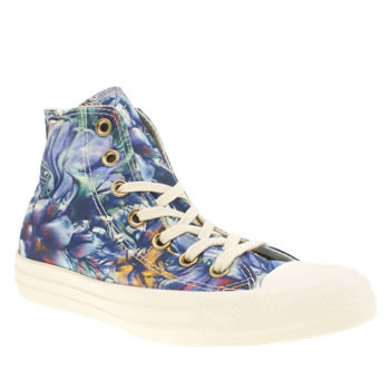 Womens Converse Blue All Star Floral Print Hi Trainers