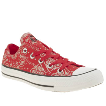 Converse Red All Star Bandana Print Ox Trainers